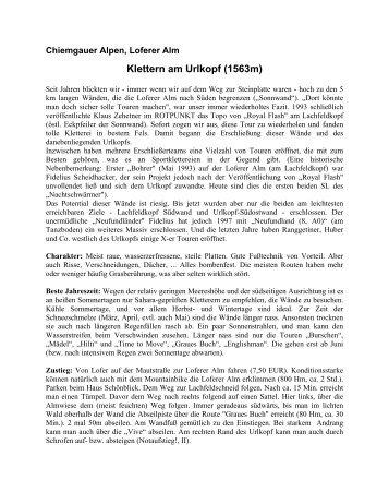 Gesamttopo des Urlkopfes - Erstbegehungen von Fritz Amann und ...