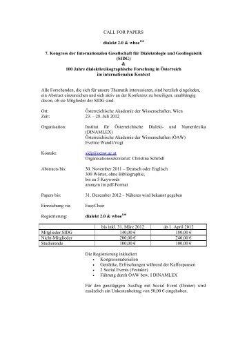 Call for Papers - 7. SIDG Kongress - Österreichische Akademie der ...