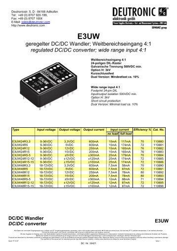 geregelter DC/DC Wandler; Weitbereichseingang 4:1 regulated DC ...
