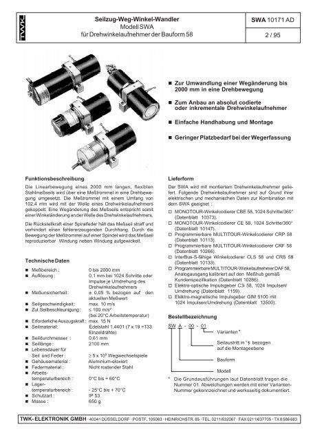 Seilzug-Weg-Winkel-Wandler Modell SWA für ...