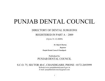 List of Registered Dentists Part –A - Punjab Dental Council....