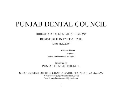 List of Registered Dentists Part –A - Punjab Dental Council