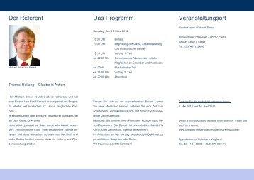 Der Referent Das Programm Veranstaltungsort - Christen im Beruf eV