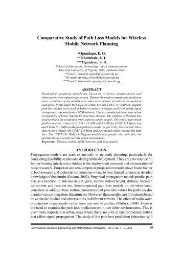 Comparative Study of Path Loss Models for Wireless - Icidr.org