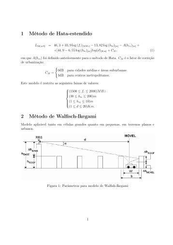 1 Método de Hata-estendido 2 Método de Walfisch-Ikegami - UFSM