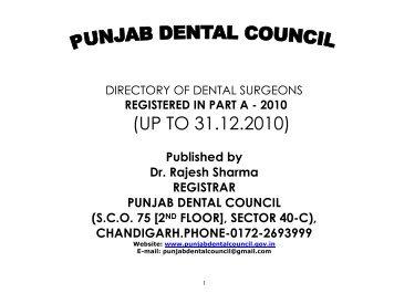 (UP TO 31.12.2010) - Punjab Dental Council....