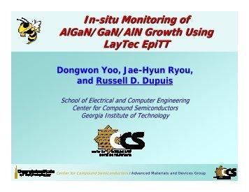 In-situ Monitoring of AlGaN/GaN/AlN Growth Using LayTec EpiTT