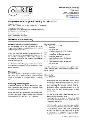 Hinweise zur Auswertung DS3/12 - des RfB