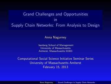 Grand Challenges and Opportunities in Supply Chain Networks ...