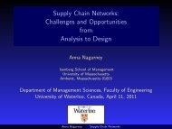 Supply Chain Networks - The Virtual Center for Supernetworks ...