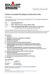 Invitation à l'assemblée des délégués de l'UDF ... - EDU Schweiz