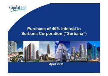 "Purchase of 40% interest in Surbana Corporation (""Surbana"")"
