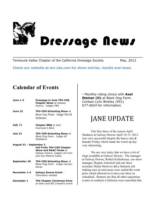 Dressage News - Temecula Valley Chapter of the California