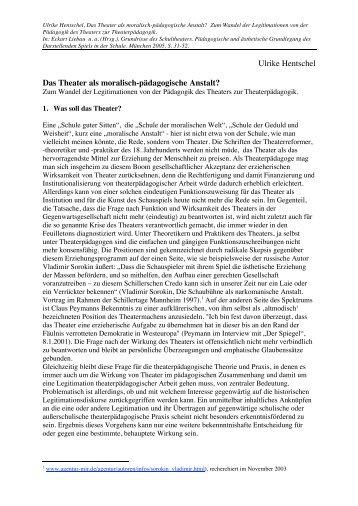Ulrike Hentschel Das Theater als moralisch-pädagogische Anstalt?
