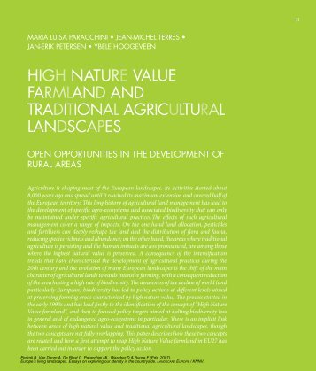 high nature value farmland and traditional agricultural landscapes