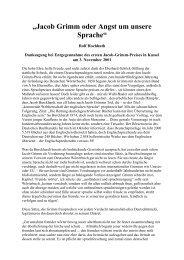 Jacob Grimm oder Angst um unsere Sprache - Deutschland Journal