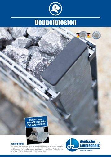 Deutsche Zauntechnik- Gabionenzaun mit Doppelpfosten
