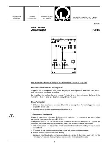 Alimentation 729 86 - LD DIDACTIC
