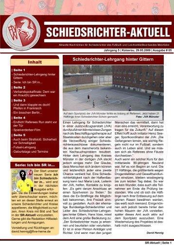 SR-Aktuell 5 -2009 - Fußball und Leichtathletik Verband Westfalen eV