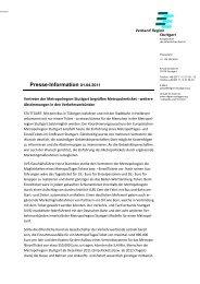 Vertreter der Metropolregion Stuttgart begrüßen Metropolticket
