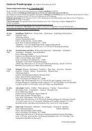 Donnerstagswanderungen der Senioren Quartal 1, 2013