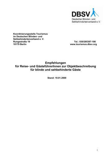 Empfehlungen zur Objektbeschreibung - Deutscher Blinden