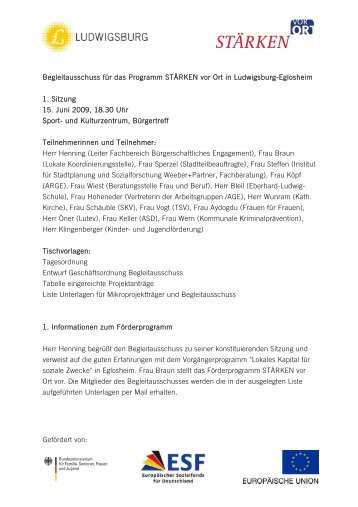 Protokolle zu den Begleitausschuss-Sitzungen - Stadt Ludwigsburg