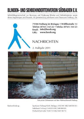 2. Halbjahr 2011 - Blinden- und Sehbehindertenverein Südbaden eV