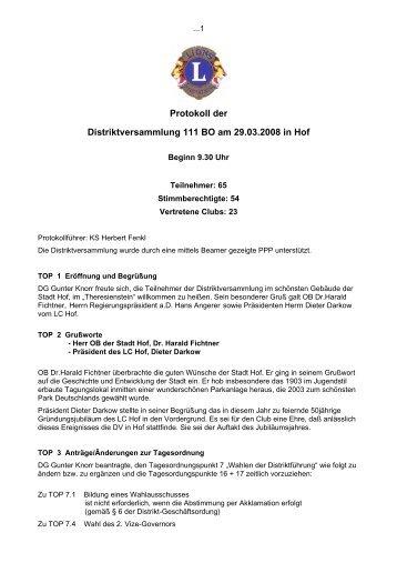 Protokoll der Distriktversammlung 111 BO am ... - Lions Bayern Ost