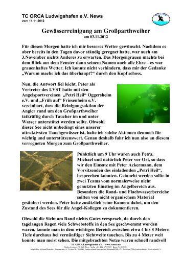 Bericht Gewässerreinigung Großparthweiher 2012 - TC Orca