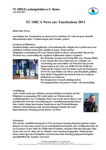 TC ORCA News zur Tauchsaison 2011