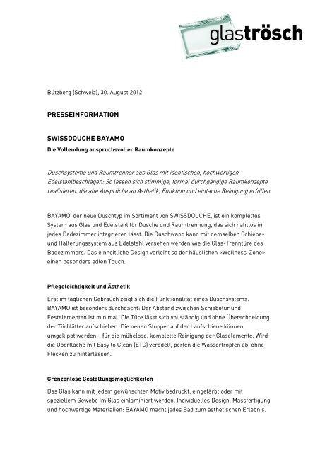 Pressemitteilung deutsch - Glas Trösch