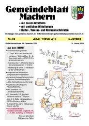 Amtsblatt Nr. 218 Januar 2013 - Gemeinde Machern
