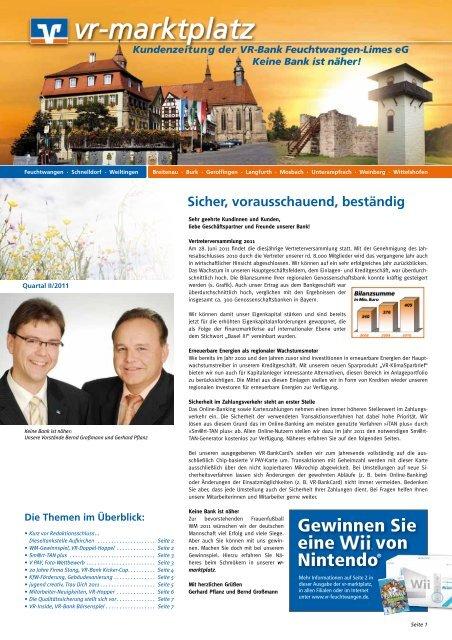 Ausgabe Ii Quartal 2011 Vr Bank Feuchtwangen Limes Eg
