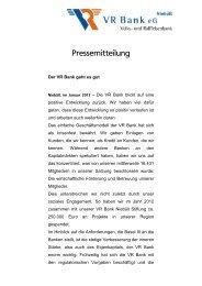 Bilanz Pressekonferenz - VR Bank eG, Niebüll