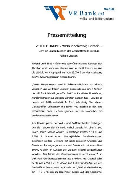 Hauptgewinn Gewinnsparen - VR Bank eG, Niebüll