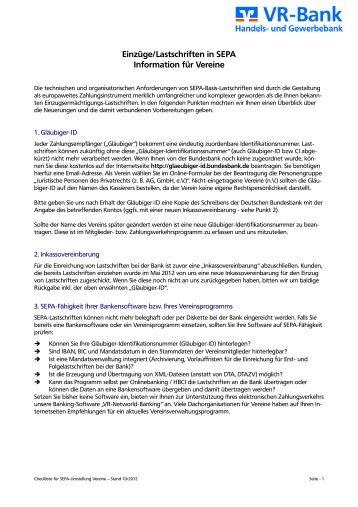 SEPA-Lastschriften für Vereine - VR-Bank Handels