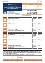 Bestellschein Online-Banking-Produkte (VR-NetWorld Software)