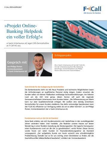 Erfahrungsbericht zum Online-Banking Helpdesk - F-Call AG