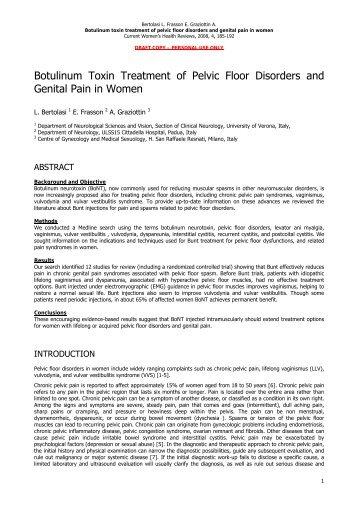 Botulinum Toxin Treatment of Pelvic Floor Disorders and Genital ...