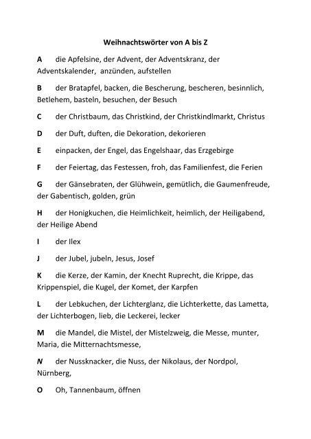 Weihnachtswörter Von A Bis Z Deutschlich