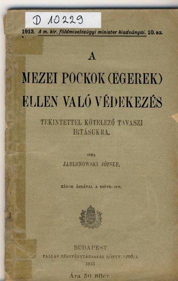 A mezei pockok (egerek) - Országos Mezőgazdasági Könyvtár