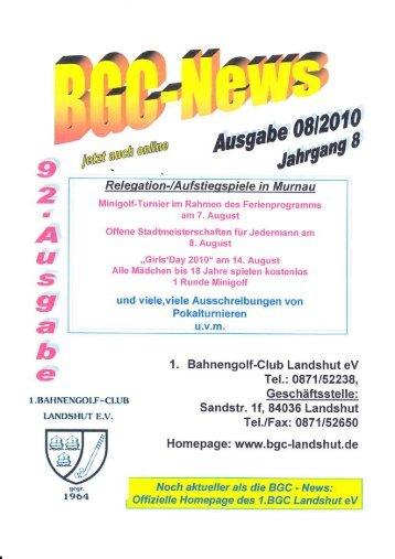 Ausgabe 08 / 2010 - 1. Bahnengolfclub Landshut