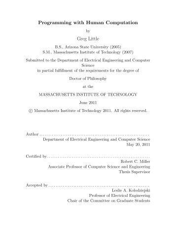 Programming with Human Computation Greg Little - MIT Computer ...