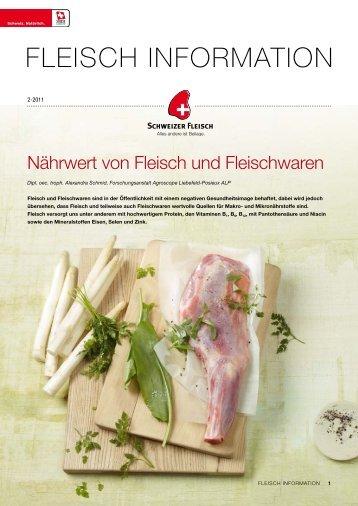 Nährwerte von Fleisch und Fleischwaren - Proviande Schweizer ...