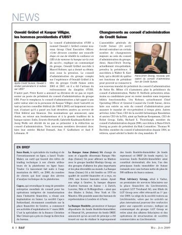 Changements au conseil d'administration de Credit Suisse Oswald ...