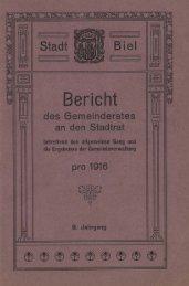 Geschäftsbericht der Stadtverwaltung Biel 1916 - Stadt Biel