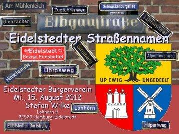 """Vortrag """"Eidelstedter Straßennamen"""" - Wappen für Eidelstedt"""