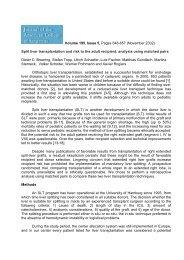 Split liver transplantation and risk to the adult recipient - Polysalov ...