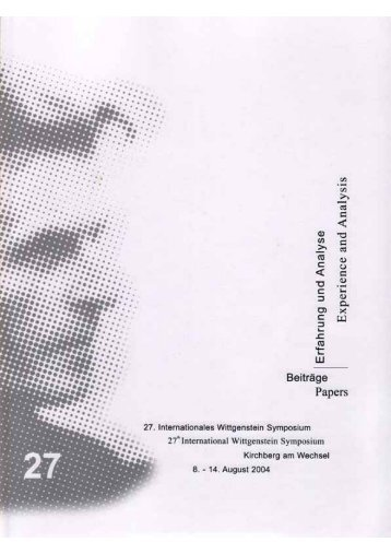 Erfahrung und Analyse Experience and Analysis - Austrian Ludwig ...
